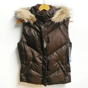 NWT Relativity Brown Down Puffer Vest w/ Fur Hood